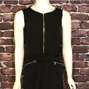 Ellen Tracy New Size 6  Black gold Zipper Dress